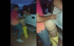 Pegou flagrante morena bunduda fazendo sexo no estacionando
