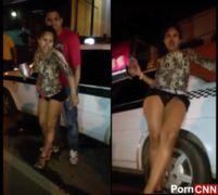 Carioca muito bêbada agachada mijando no ponto dos taxistas no RJ